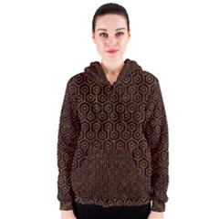 Hexagon1 Black Marble & Brown Marble Women s Zipper Hoodie by trendistuff