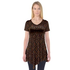 Hexagon1 Black Marble & Brown Marble Short Sleeve Tunic  by trendistuff