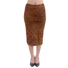 Hexagon1 Black Marble & Brown Marble (r) Midi Pencil Skirt by trendistuff