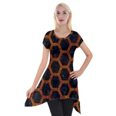 Hexagon2 Black Marble & Brown Marble Short Sleeve Side Drop Tunic by trendistuff