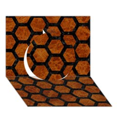 Hexagon2 Black Marble & Brown Marble (r) Circle 3d Greeting Card (7x5) by trendistuff