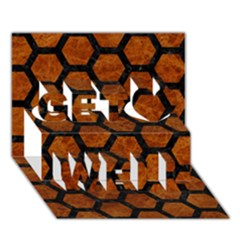 Hexagon2 Black Marble & Brown Marble (r) Get Well 3d Greeting Card (7x5)