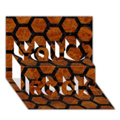 Hexagon2 Black Marble & Brown Marble (r) You Rock 3d Greeting Card (7x5) by trendistuff