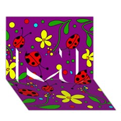 Ladybugs   Purple I Love You 3d Greeting Card (7x5) by Valentinaart