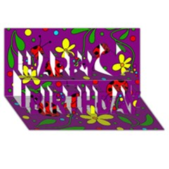 Ladybugs   Purple Happy Birthday 3d Greeting Card (8x4) by Valentinaart
