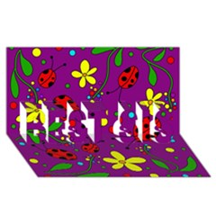 Ladybugs   Purple Best Sis 3d Greeting Card (8x4) by Valentinaart
