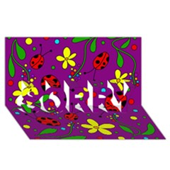 Ladybugs   Purple Sorry 3d Greeting Card (8x4) by Valentinaart