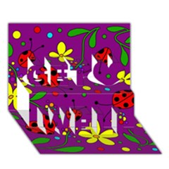 Ladybugs   Purple Get Well 3d Greeting Card (7x5)