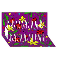 Ladybugs   Purple Congrats Graduate 3d Greeting Card (8x4) by Valentinaart