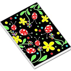 Flowers And Ladybugs Large Memo Pads by Valentinaart