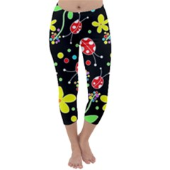 Flowers And Ladybugs Capri Winter Leggings