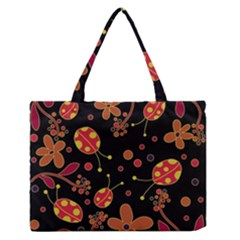 Flowers And Ladybugs 2 Medium Zipper Tote Bag by Valentinaart