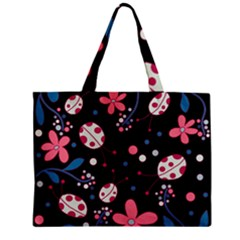 Pink Ladybugs And Flowers  Zipper Mini Tote Bag by Valentinaart