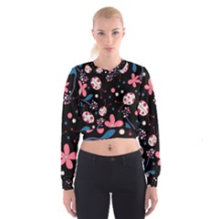 Pink Ladybugs And Flowers  Women s Cropped Sweatshirt by Valentinaart