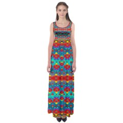 Peace Flowers And Rainbows In The Sky Empire Waist Maxi Dress by pepitasart