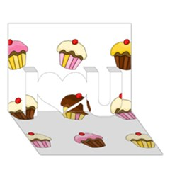 Colorful Cupcakes  I Love You 3d Greeting Card (7x5) by Valentinaart