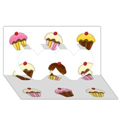 Colorful Cupcakes  Twin Hearts 3d Greeting Card (8x4) by Valentinaart