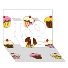 Colorful Cupcakes  Love 3d Greeting Card (7x5) by Valentinaart