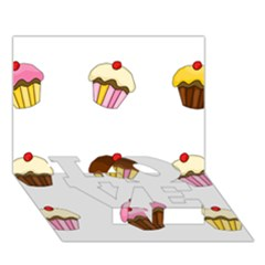 Colorful Cupcakes  Love Bottom 3d Greeting Card (7x5) by Valentinaart