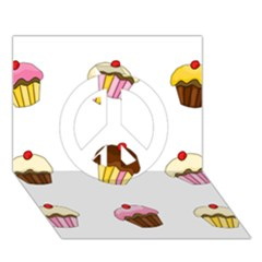 Colorful Cupcakes  Peace Sign 3d Greeting Card (7x5) by Valentinaart