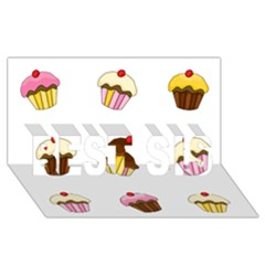 Colorful Cupcakes  Best Sis 3d Greeting Card (8x4) by Valentinaart