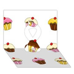 Colorful Cupcakes  Ribbon 3d Greeting Card (7x5) by Valentinaart