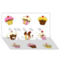 Colorful Cupcakes  Hugs 3d Greeting Card (8x4) by Valentinaart
