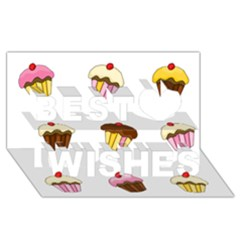 Colorful Cupcakes  Best Wish 3d Greeting Card (8x4) by Valentinaart