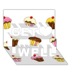 Colorful Cupcakes  Get Well 3d Greeting Card (7x5) by Valentinaart