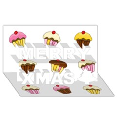 Colorful Cupcakes  Merry Xmas 3d Greeting Card (8x4) by Valentinaart