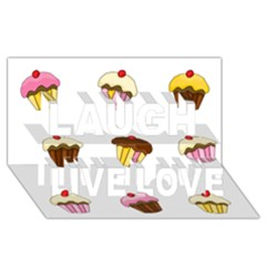 Colorful Cupcakes  Laugh Live Love 3d Greeting Card (8x4) by Valentinaart