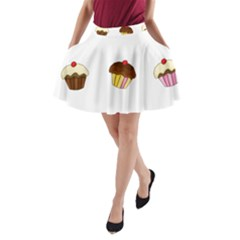Colorful Cupcakes  A Line Pocket Skirt by Valentinaart