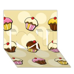 Colorful Cupcakes Pattern I Love You 3d Greeting Card (7x5) by Valentinaart