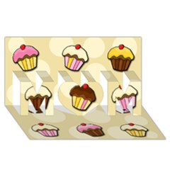 Colorful Cupcakes Pattern Mom 3d Greeting Card (8x4) by Valentinaart