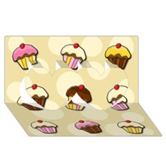 Colorful Cupcakes Pattern Twin Hearts 3d Greeting Card (8x4) by Valentinaart