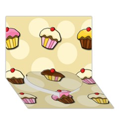 Colorful Cupcakes Pattern Heart Bottom 3d Greeting Card (7x5) by Valentinaart