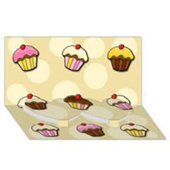 Colorful Cupcakes Pattern Twin Heart Bottom 3d Greeting Card (8x4) by Valentinaart