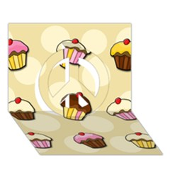 Colorful Cupcakes Pattern Peace Sign 3d Greeting Card (7x5) by Valentinaart