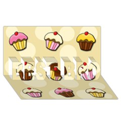 Colorful Cupcakes Pattern Best Bro 3d Greeting Card (8x4) by Valentinaart