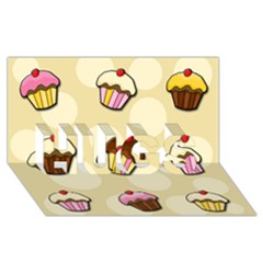 Colorful Cupcakes Pattern Hugs 3d Greeting Card (8x4) by Valentinaart