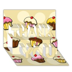 Colorful Cupcakes Pattern Thank You 3d Greeting Card (7x5) by Valentinaart