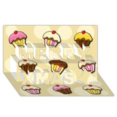 Colorful Cupcakes Pattern Merry Xmas 3d Greeting Card (8x4) by Valentinaart