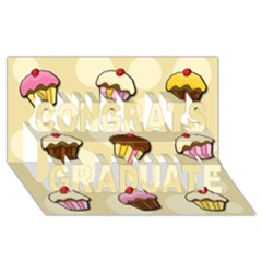 Colorful Cupcakes Pattern Congrats Graduate 3d Greeting Card (8x4) by Valentinaart