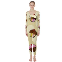 Colorful Cupcakes Pattern Long Sleeve Catsuit by Valentinaart