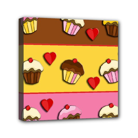 Love Cupcakes Mini Canvas 6  X 6  by Valentinaart