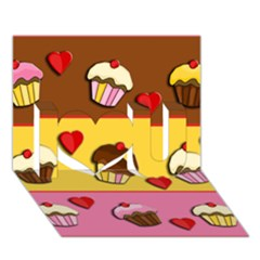 Love Cupcakes I Love You 3d Greeting Card (7x5) by Valentinaart