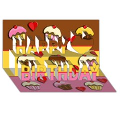 Love Cupcakes Happy Birthday 3d Greeting Card (8x4) by Valentinaart