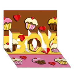 Love Cupcakes Boy 3d Greeting Card (7x5) by Valentinaart