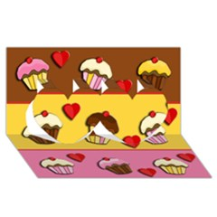 Love Cupcakes Twin Hearts 3d Greeting Card (8x4) by Valentinaart