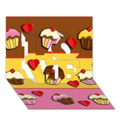 Love Cupcakes Love 3d Greeting Card (7x5) by Valentinaart